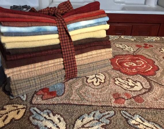 """Wool Pack for Camille, 30"""" x 39""""  WP116, Primitive Floral Hooked Rug, Rug Hooking Wool Bundle for Floral Rug Design, Hooked Flower Rug"""