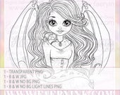 Dragon Faery Fairy Fae  UNCOLORED Digital Stamp Image Adult Coloring Page jpeg png jpg Craft Cardmaking Papercrafting DIY