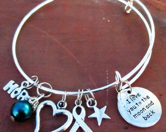 Teal Awareness I Love You To The Moon and Back Bangle Charm Bracelet Ovarian Cancer Anxiety PTSD Tourette's OCD Panic Disorder