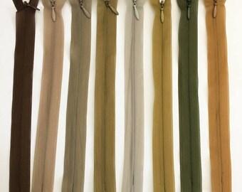 Set of 8 20 assorted colors - set of 9 cm invisible zipper closures