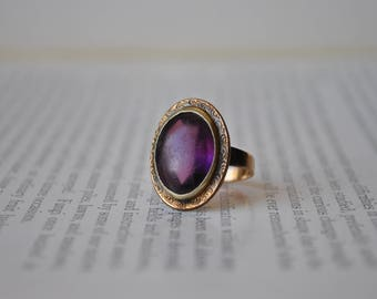 Antique Gold Filled Ring - 1900s Edwardian Rose Gold Filled Ring, Purple Glass Stone