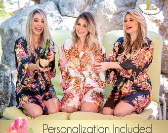 Set of 8 Bridesmaid robes, Personalized Robe , Mix & Match, Floral robe silk, Kimono Silky Robe Bridesmaid gift Getting ready photo