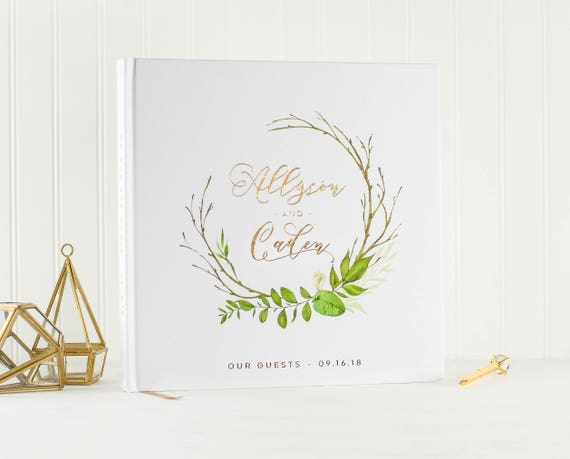Wedding Guest Book Gold Foil wedding guestbook guest sign in book photo guest book wedding planner book botanical wreath wedding photo album
