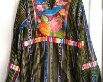 Vintage Ikat Print Shirt Embroidered Beautiful Colors