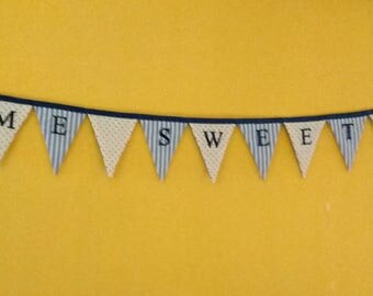 Home Sweet Home Bunting Embroidered letters on both sides for hanging in the middle of the room or at a party hall