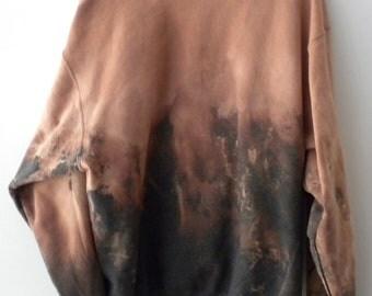 Gray Crewneck Sweatshirt, Hipster, dip dye, acid wash sweatshirt, tie dye, graphic sweatshirt, rocker, XLarge, sweater, jumper, retro, Gift
