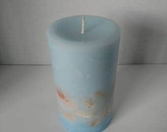 Ocean Mist Scented Pillar Candle With Shells