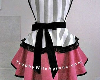 Apron # 1206 - Grey and white stripes over raspberry circular style retro apron