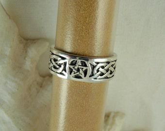 Pentagram Ring, Sterling Silver Celtic Ring, Pentacle Ring, Celtic Ring, Sterling Wicca Ring