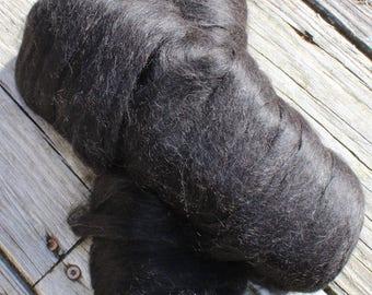 3-1/2 Ounces of Luxurious 100% BLACK Suri Alpaca Pencil Roving
