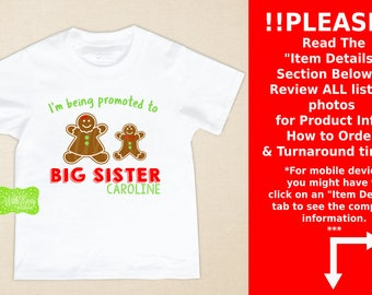 Big Sister Gingerbread Iron On - Sibling Shirt Iron On - Sibling Iron On - New Baby Iron On - Personalized Gingerbread Iron On