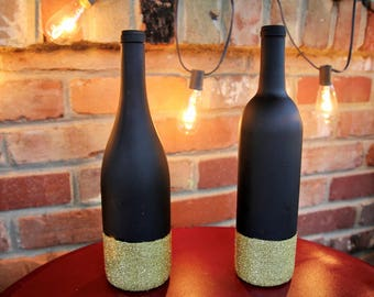 Wine Bottle Centerpiece - Black Glitter