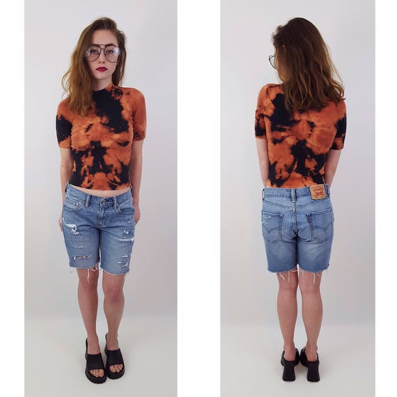 90s Vintage Tie Dye Bleach Short Sleeve Top - XS Small Navy Black Orange Cotton Cropped Tee - Hand Dyed Crop Bleached Remade Upcycled Shirt