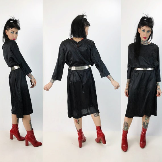 80's Black Long Sleeve Midi Party Dress Large - Eighties Black Loose Fitting Dress Embossed Allover Print Cocktail Midi Sack Party Dress