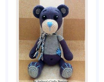Crochet Teddy Bear Soft Stuffed Amigurumi Toy approx 9in / 23cm sitting