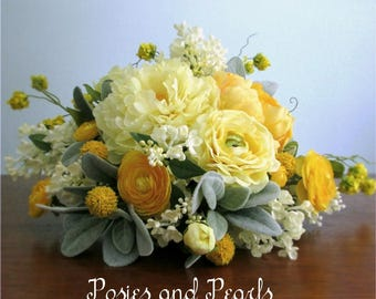 """Yellow, Silver Grey, and Ivory Cascading Silk Flower Bridal Bouquet, Boutonniere, Peonies, Ranunculus, Lilacs, Billy Button, """"Lively"""""""