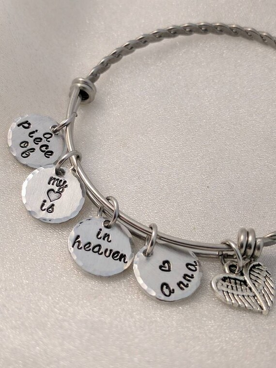 A Piece Of My Heart Is In Heaven - Hand Stamped Bracelet - Bangle Bracelet - Personalized Charm Bracelet - Sympathy Gift - Loss of Loved One