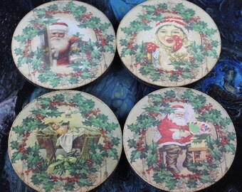 Vintage Christmas Coasters - Set 2