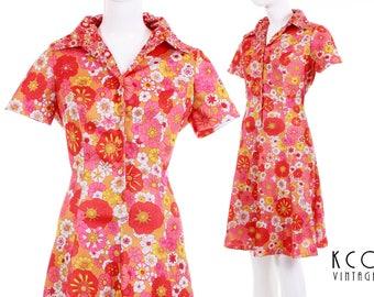 70s Vintage Emilio Borghese Collared Dress Orange Pink Floral Print A - Line Midi Retro Mod Summer Women's Size Medium