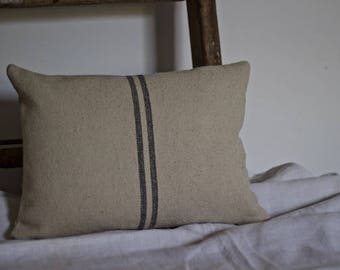 Grey Stripe French Grainsack Cushion Cover