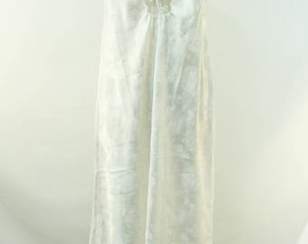 Vintage 1970's 70's Christian Dior Ivory Satin Floral Print Lace Detail Long Night Gown Slip Sleepwear
