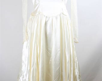 1940s 40s Vintage Ivory Lace Satin Long Train Wedding Dress Bridal Gown