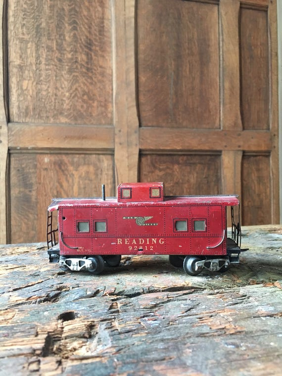 Vintage Caboose Train Toy, Marx Toys Mar Lines Reading RxR, Red Train Caboose, Kids Room Decor, Train Lover Gift