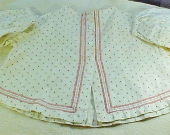 Antique Baby Shirt, Hand Stitched, Yellow & Black Pattern with Pink Trim, c 1850, Victorian Baby