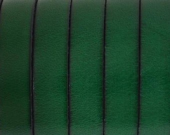 """8"""" Flat Leather 10mm Bottle Green with Black Trim, finding, jewelry making supplies,leather working, craft supply"""