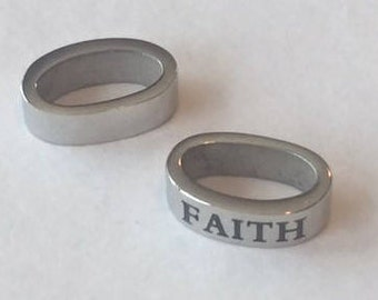 Stainless Steel Plated Thin Word Oval Sliders- FAITH,  round leather sale