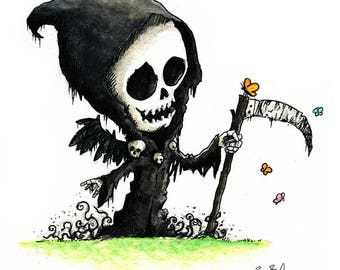 Grim Reaper and Butterflies Watercolor Print