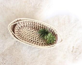 Set 2 Vintage Woven Oval Nesting Baskets Handmade Oval Basket Jute Brown Boho Home Dcor