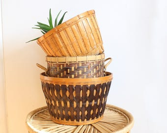 Vintage Basket Trio Set of Three Pot Planter Bamboo Rattan Tribal Wood Bohemian Jungalow