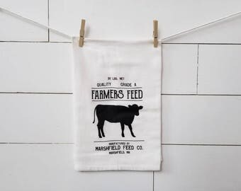 Farmers Feed flour sack towel. Farmhouse towel. Tea towel. Kitchen. Towel. Kitchen towel. Farmhouse kitchen. Black and white. Kitchen decor.