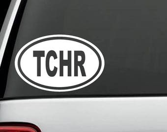 C1139 Teacher TCHR Oval Decal Sticker