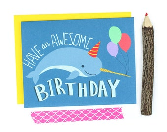 Narwhal Card, Cute Birthday Cards, Magical, First Birthday, Narwhal Gift, Invitations, Card For Him, Ocean Theme, Tumblr, Sea, Gnarly
