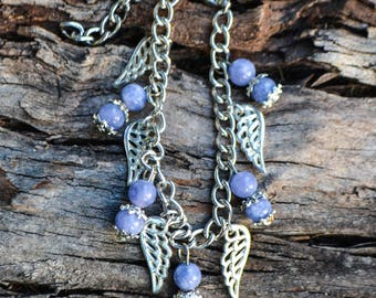 FREE SHIPPING WORLDWIDE-Tanzanite Bracelet-Angel Wing Bracelet-Lilac Bracelet-Blue Bracelet-December Birthstone-December Gift-Reiki Jewelry
