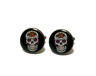 Custom Wedding Cufflinks - Sugar Skull Cufflinks - Mexico Skull Cuff Links - Day Of The Dead Cufflink - Idea Wedding Cufflinks - men gift