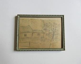 30's original drawing, San Nicolas, convex glass frame