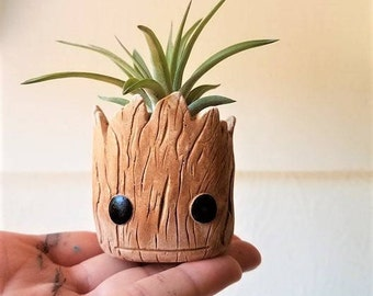 Baby Groot inspired planter, Groot gift, air plant holder, baby Groot, geeky gift, air plant gift set