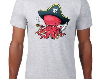 Funny Tee, Pirate Octopus TShirt, Funny Tshirt, Octopus T Shirt, Ocean Animal Tee, Funny T Shirt, Ringspun Cotton, Mens Plus Size