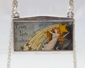 Vintage French Postcard Pendant Necklace, 1910 Halley's Comet Souvenir Postcard Pendant Necklace, Vintage Postcard Art Pendant Necklace,