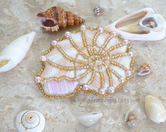 BONUS SPECIAL - Kit makes 2 - Nautilus Shell Hand Embroidered Brooch/Ornament Kit