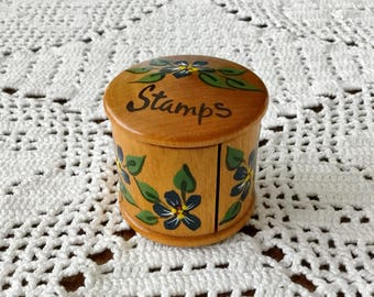 Wooden POSTAGE STAMP Holder VINTAGE