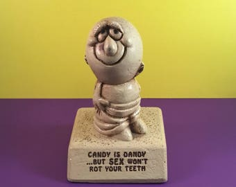Vintage Humorous Sillisculpt Statuary CANDY IS DANDY 1970