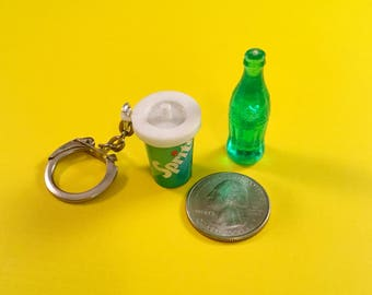 Vintage Miniature SPRITE SODA POP Softdrink Cup Keychain Miniature Coke Bottle