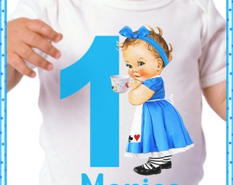 Birthday Baby Alice In Wonderland;OnezeeDress Or Shirt And Personalized For Free;Name And Number Color Change OK Fast Shipping;6 Months & Up