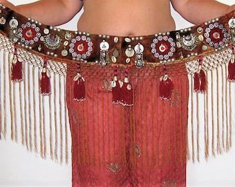 Tribal belt,Brown tribal belt,Tribal tassel belt,Tribal fusion,Tribal fusion ATS belt,Tribal fringe belt,Shell belt,Belly dance belt