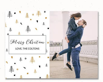 Christmas Card Printable Template, Instant Download Christmas Card Photo, Christmas Invitation, Card Template PSD, For Photographers, m157c
