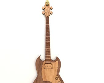 Personalized Wood Electric SG Style Bass Guitar Ornament